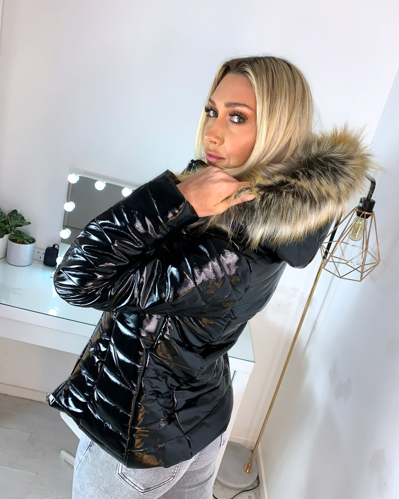 'Dana' Black Puffer Coat with Faux Fur Hood