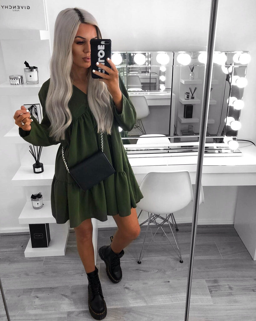 'Maya' Khaki V-Neck Long Sleeved Smock Dress (PRE ORDER 14 DAY DELIVERY)