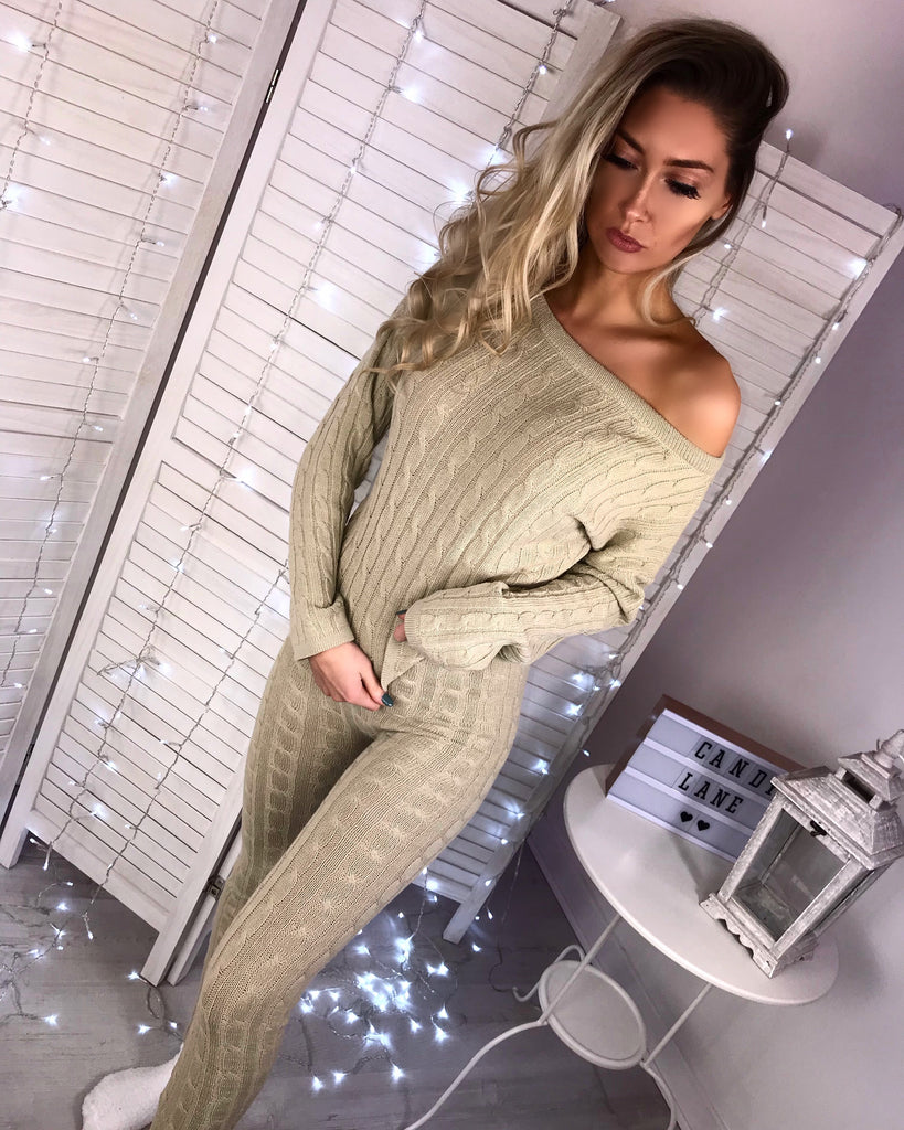 'Demi' Stone Knitted Top & Leggings Set