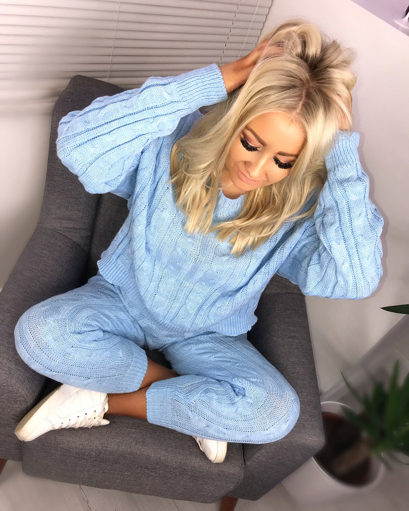 'Peyton' Powder Blue Knitted Loungesuit