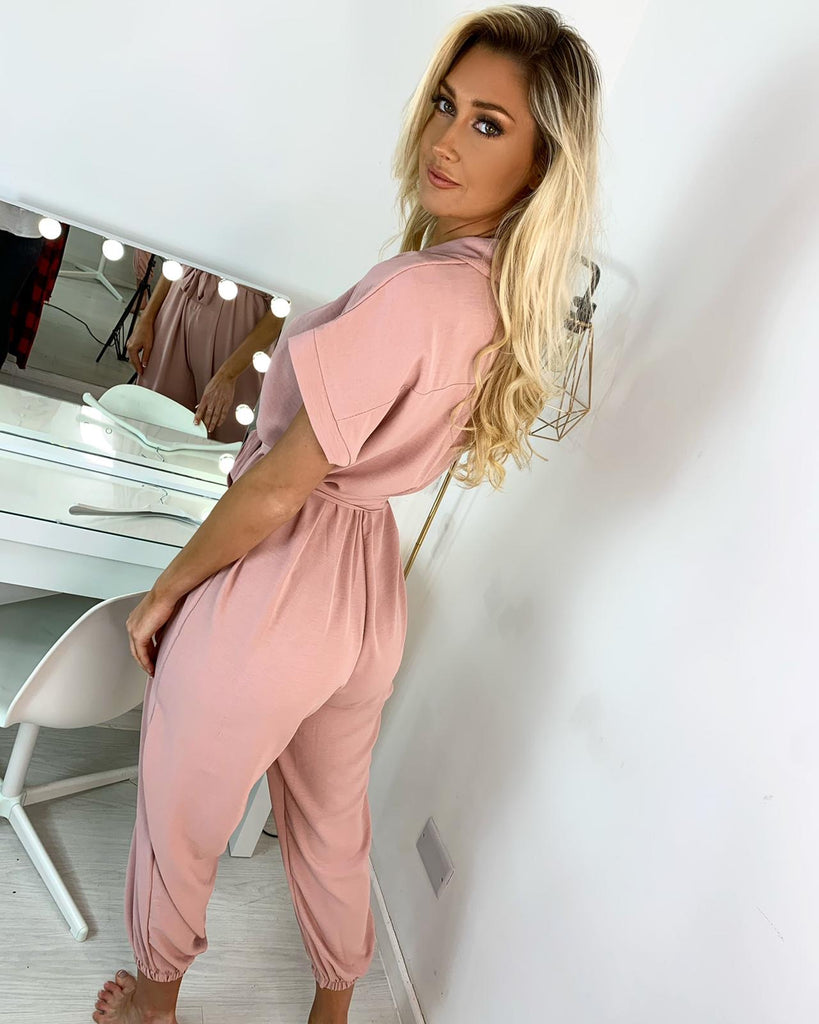 'Freya' Dusky Pink Button Jumpsuit with Tie-Belt