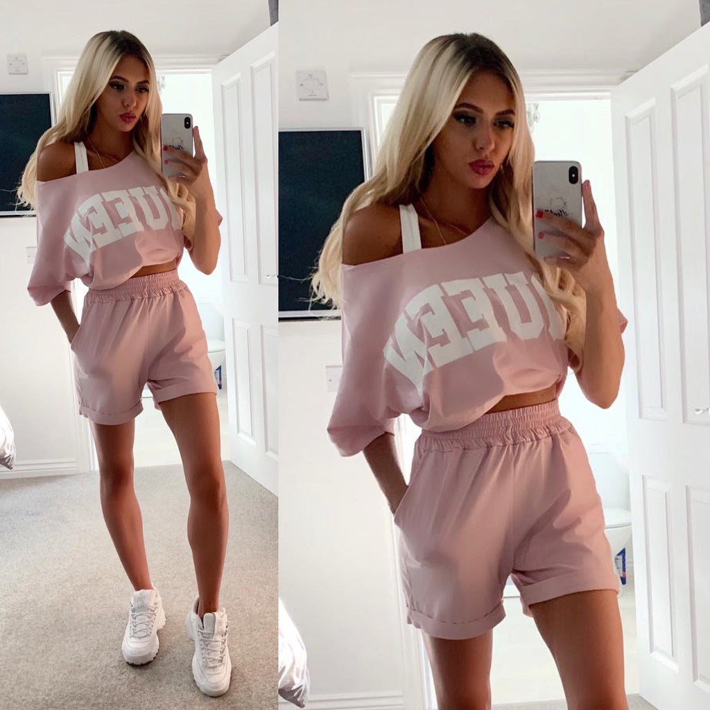 'Queen' Pink Slogan Top & Shorts Set