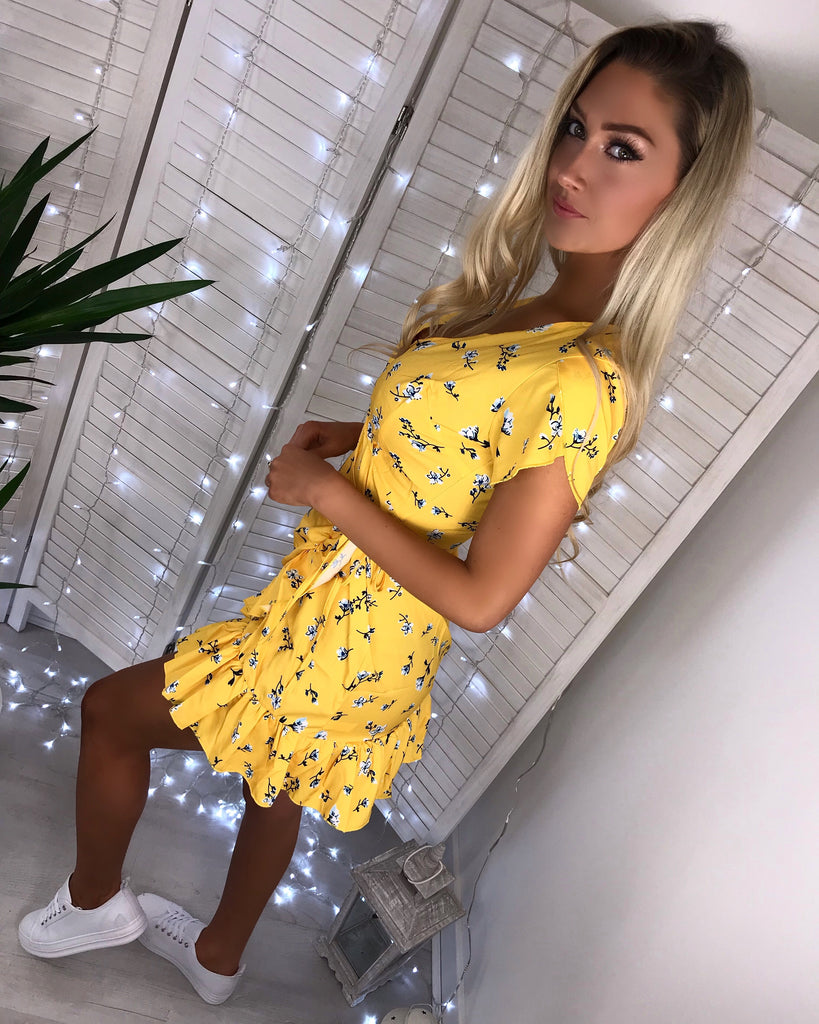 'Tamara' Yellow Floral Wrap Dress