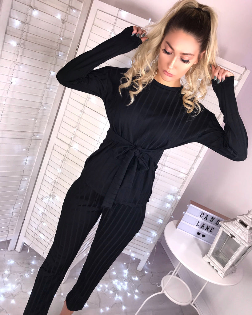 'Roma' Black Pinstripe Tie-Front Loungesuit
