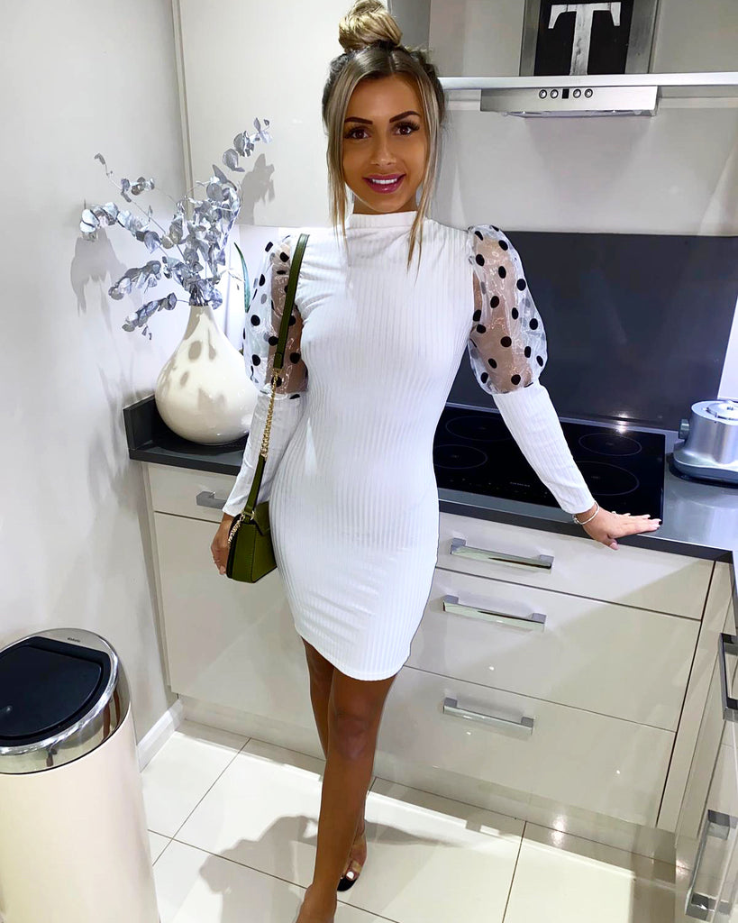 'Reya' White Puff-Sleeve Bodycon Dress