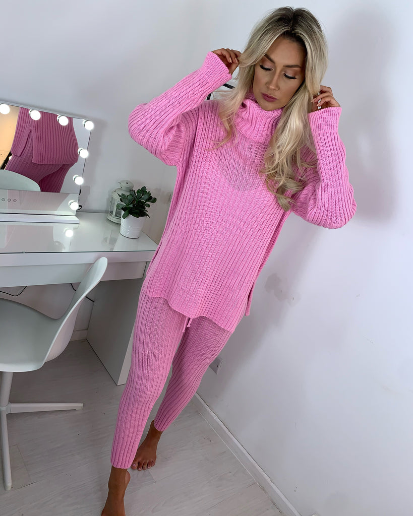 'Esme' Pink Knitted Roll-Neck Loungesuit