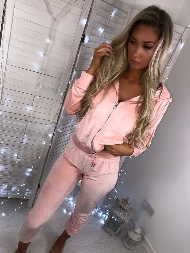 'Tilly' Pink Velour Hooded Two-Piece Loungesuit