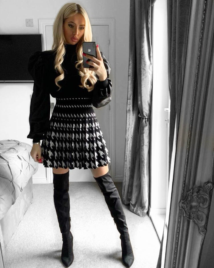 'Martine' Grey Knitted Roll-Neck Jumper Dress