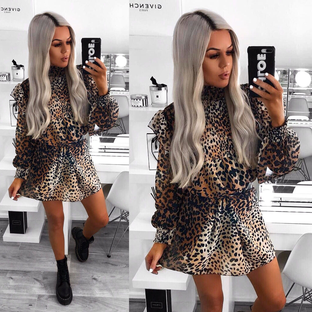 'Shae' Animal Print Frill-Sleeve High-Neck Dress