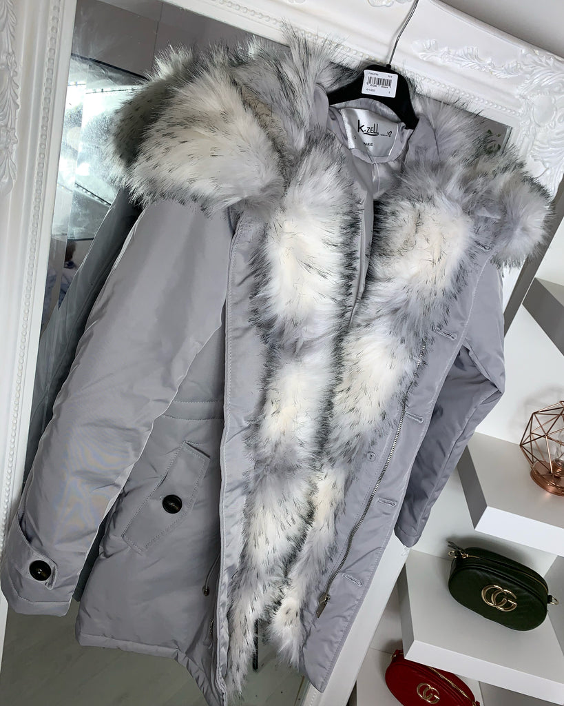 'Marissa' Grey LUXE Parka With Faux-Fur Hood & Lining