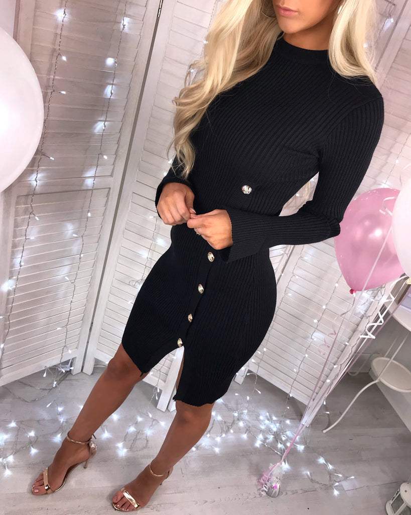 'Carmel' Black Long-Sleeve Dress with Gold Button-Detail (PRE ORDER 14 DAYS DELIVERY)