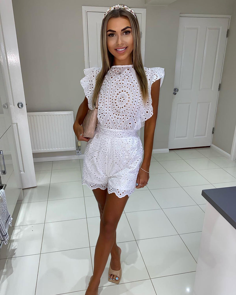 'Billie' White Broderie Anglaise Playsuit