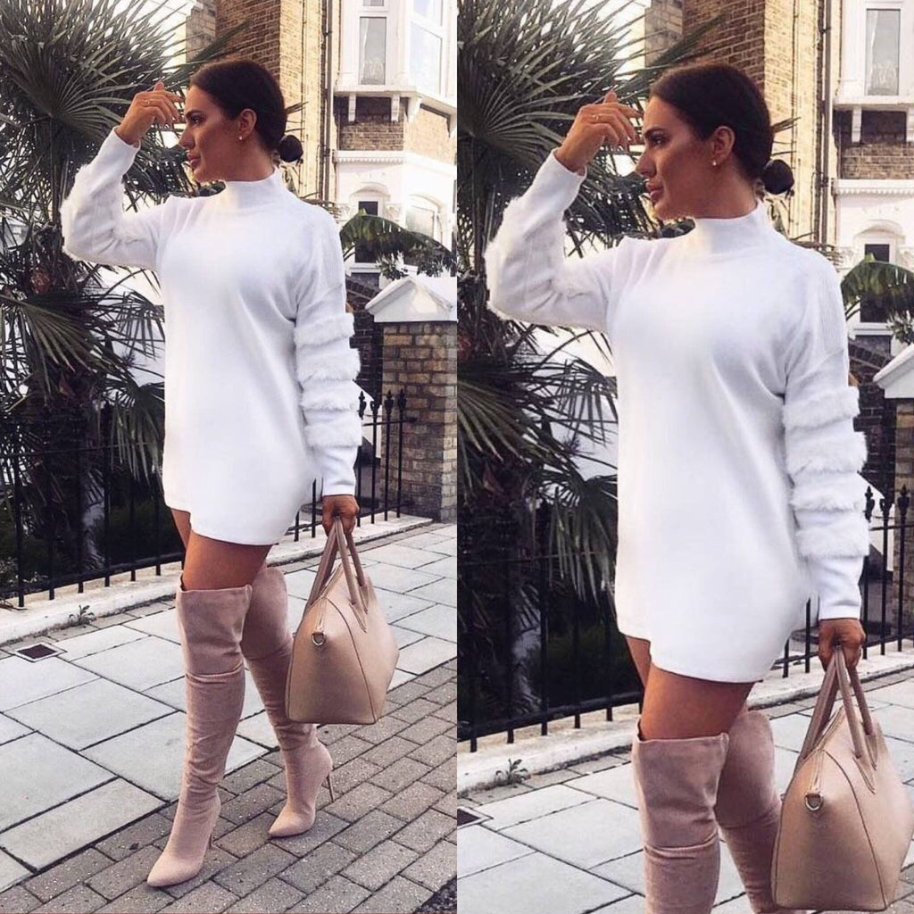 'Willow' White Jumper Dress With Faux-Fur Detail
