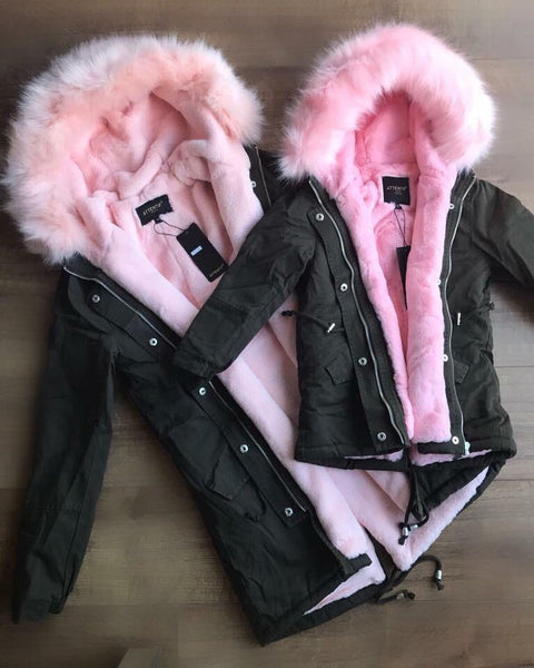CHILDRENS Khaki Parka with Pink Faux-Fur Hood & Lining