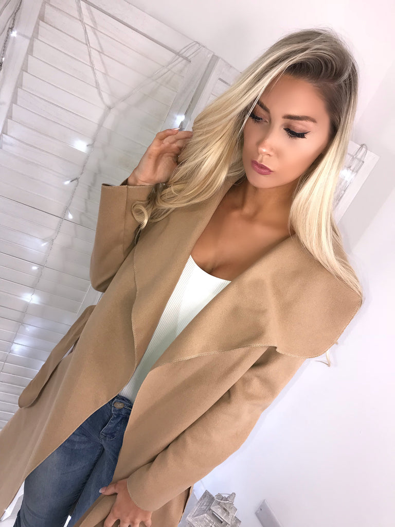 Camel Waterfall Coat with Belt & Pockets