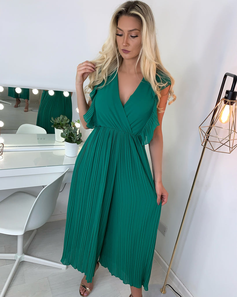 'Adele' Green Pleated Wide-Leg Jumpsuit