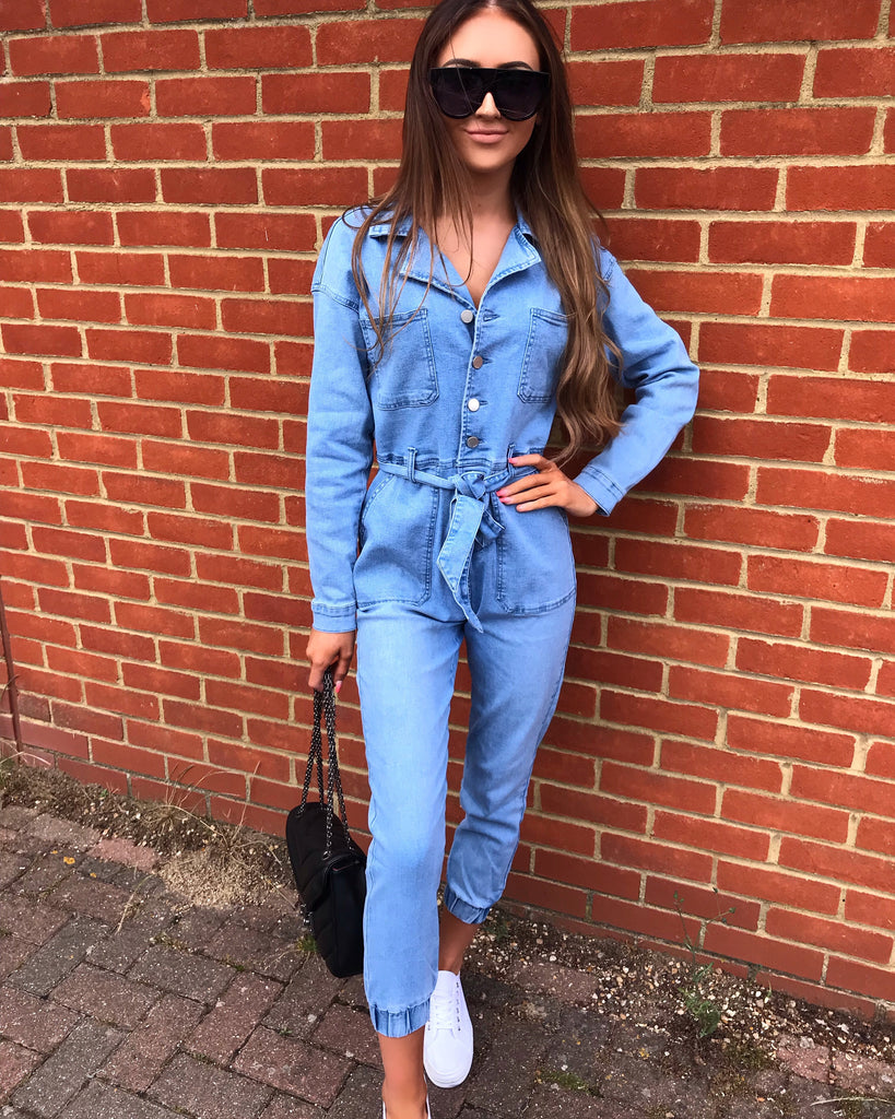 'Isla' Blue Denim Belted Jumpsuit