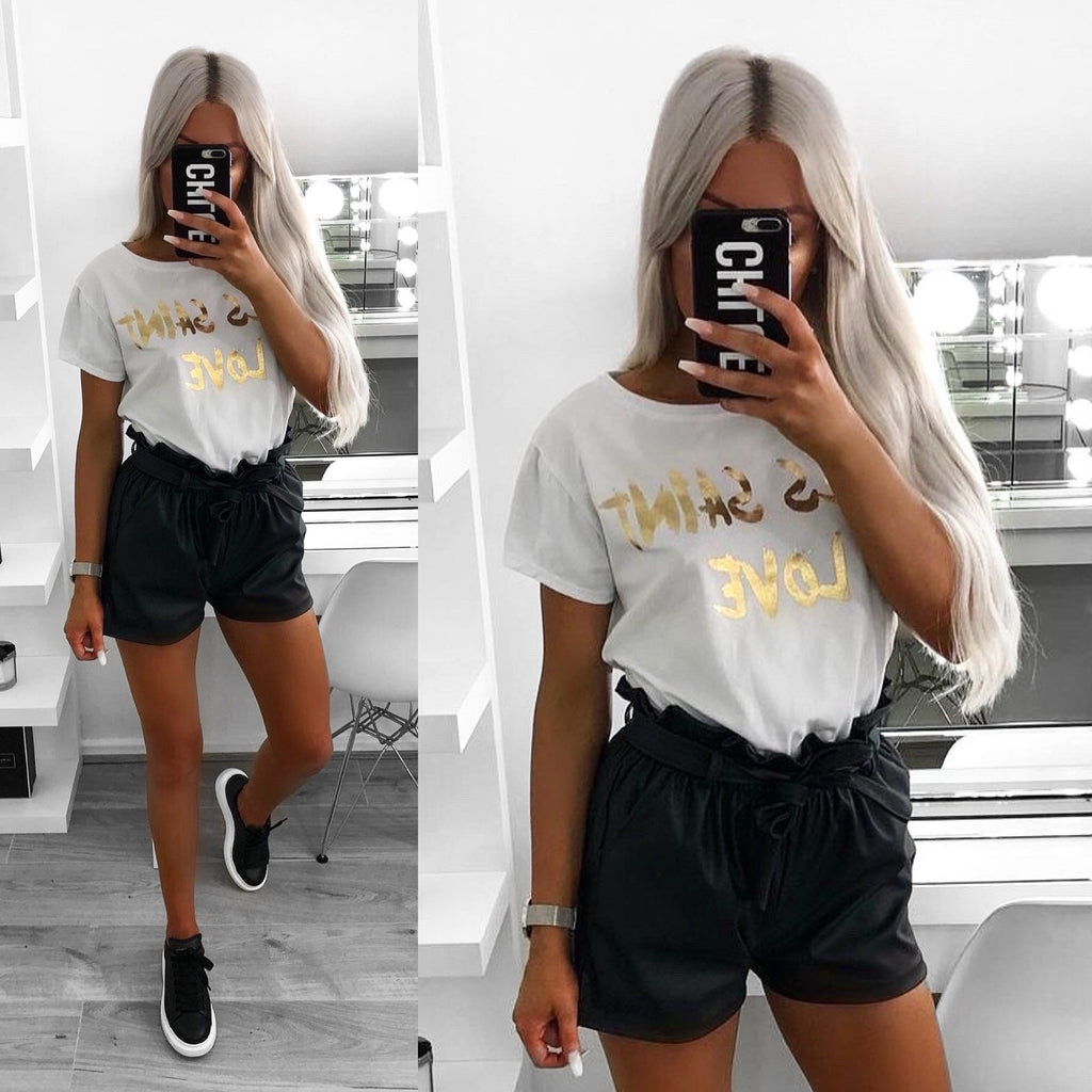 'Yves Saint Love' White & Gold Slogan Tee