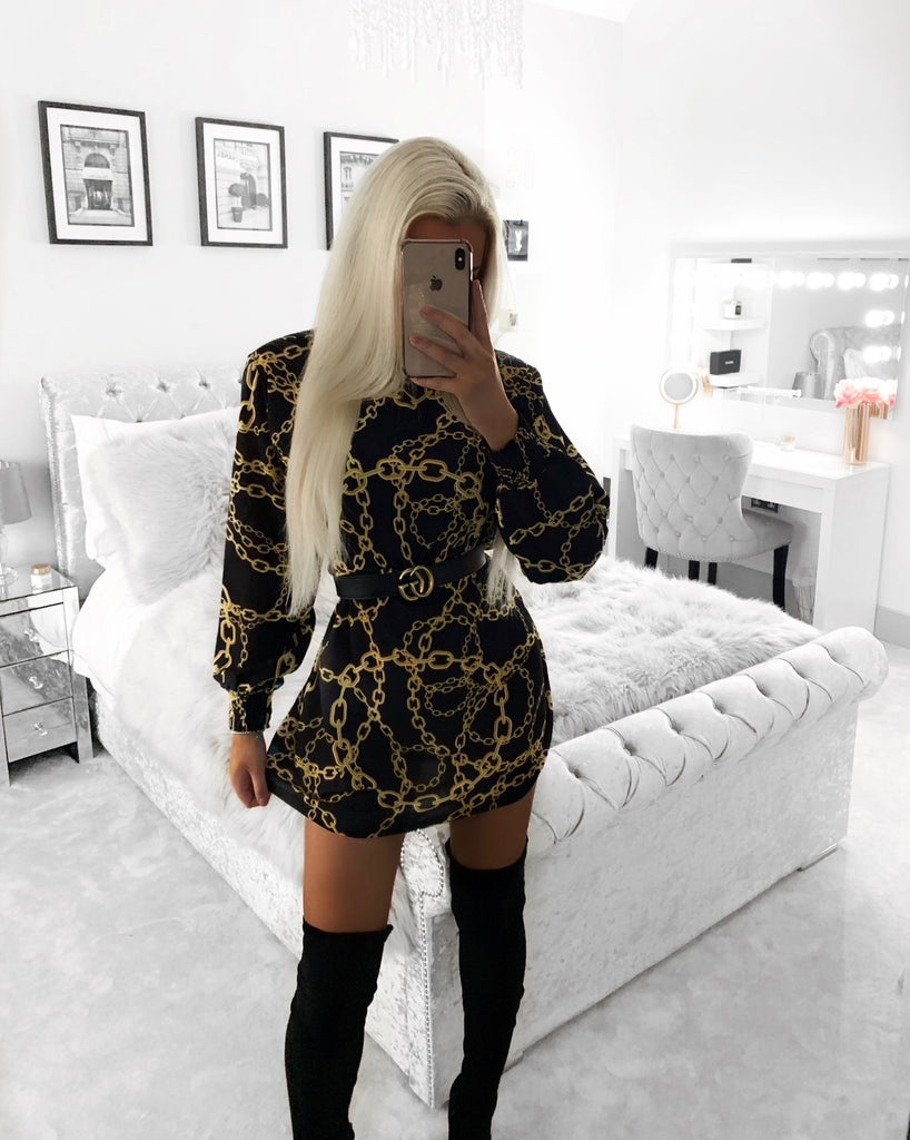 'Shaine' Black & Gold Chain-Print Dress