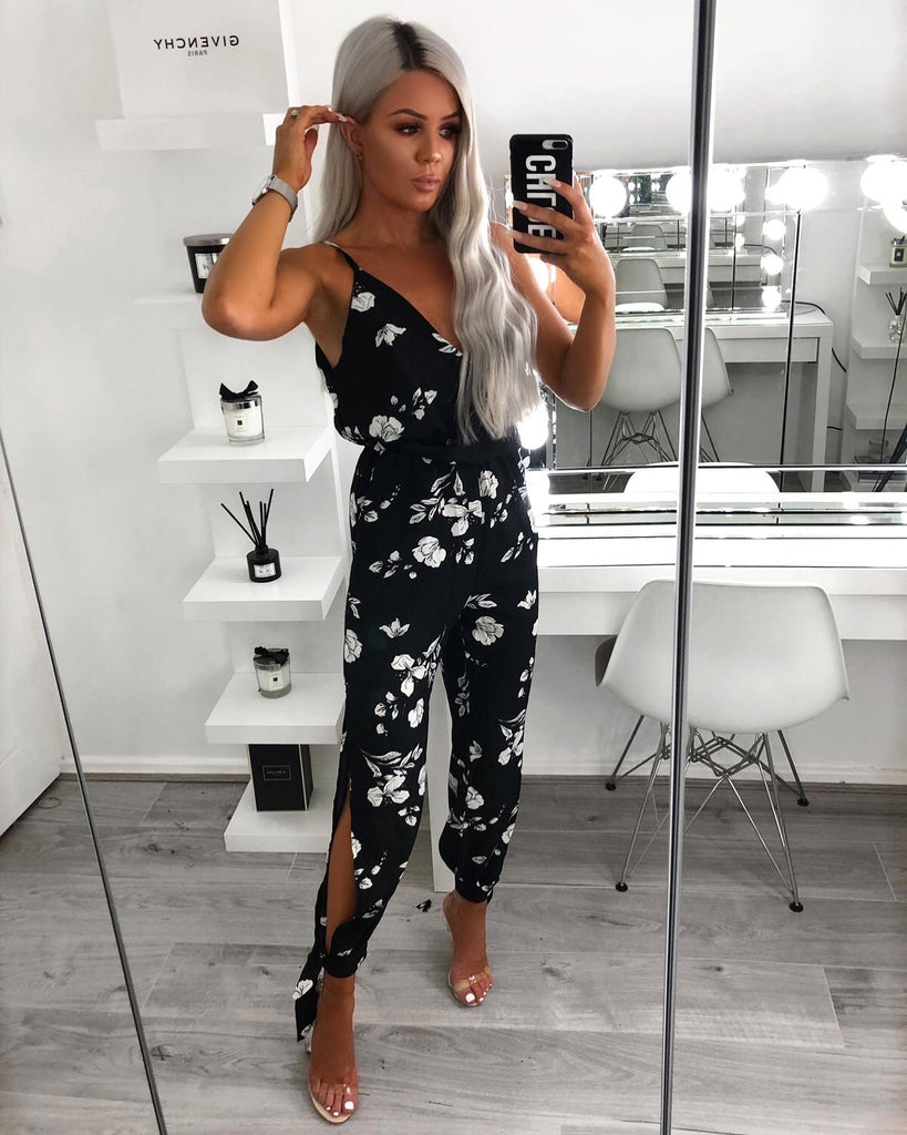 'Ariana' Black Floral Print Wrap-Style Jumpsuit