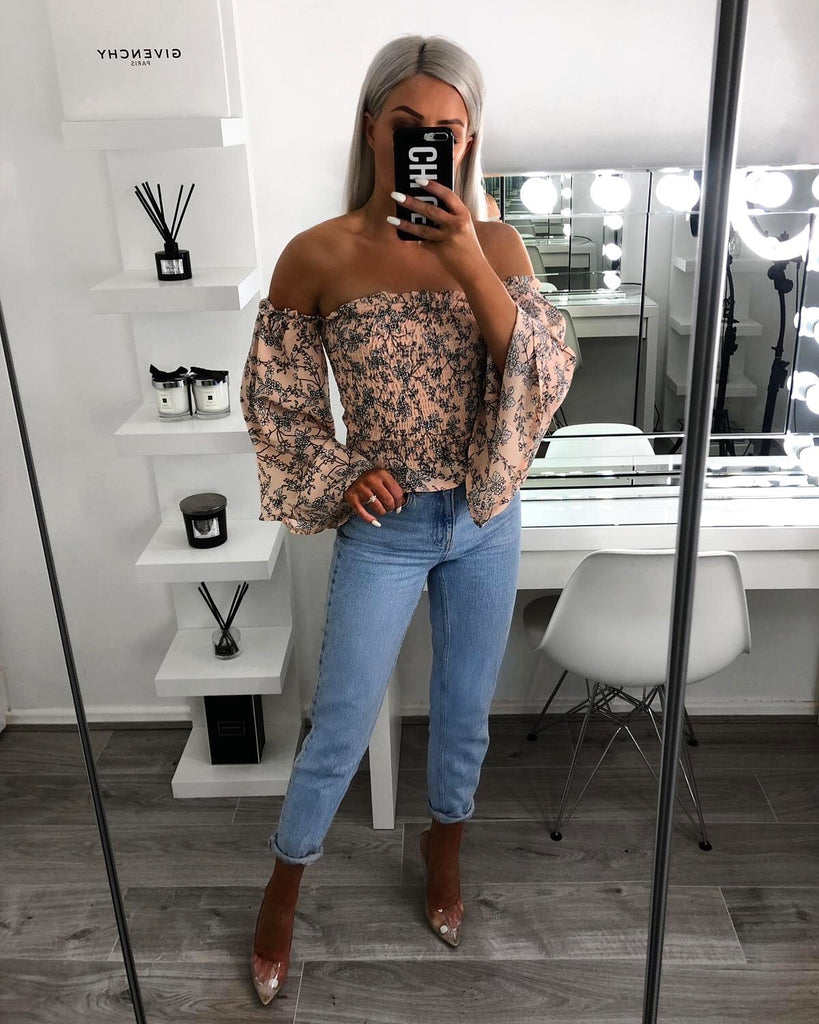 'Matilda' Nude Floral Off-Shoulder Top