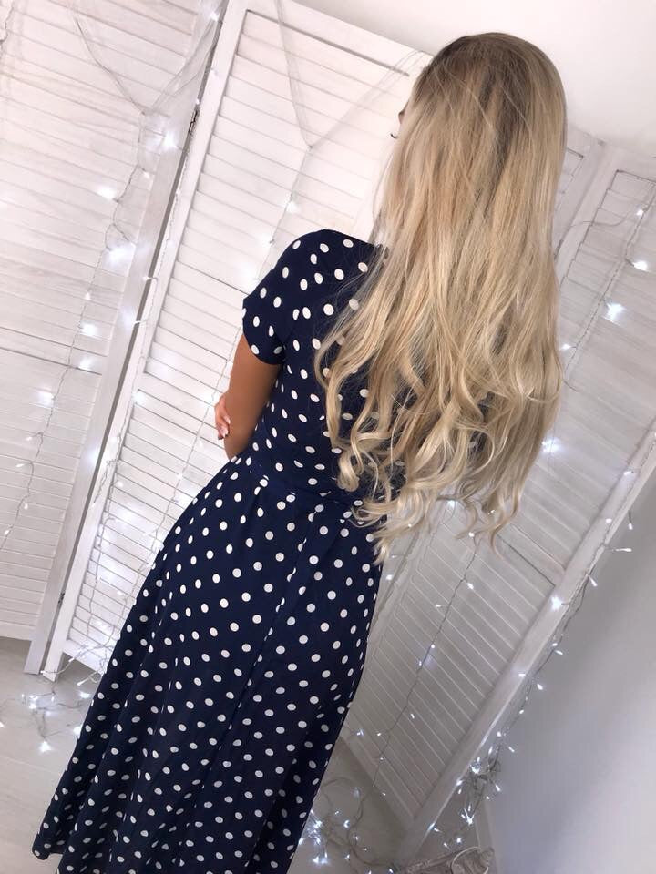 'Nicoletti' Navy Polka-Dot Wrap-Over Maxi Dress with Tie-Belt