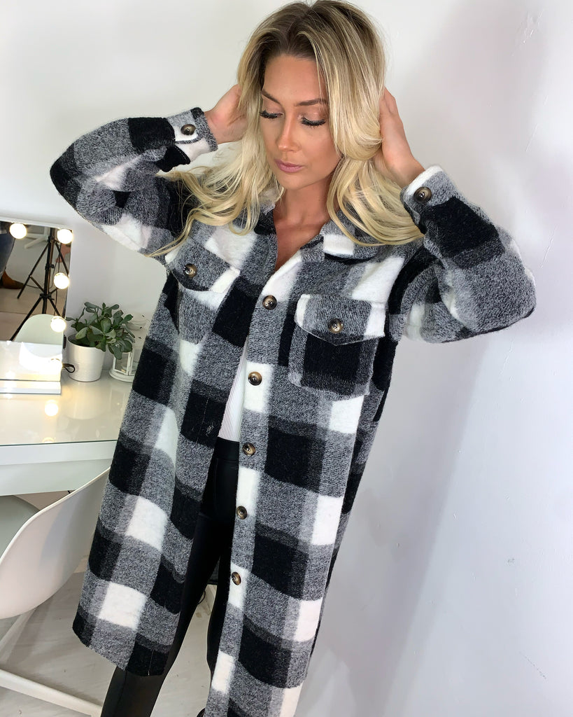 'Lila' Monochrome Check-Print Longline Shacket