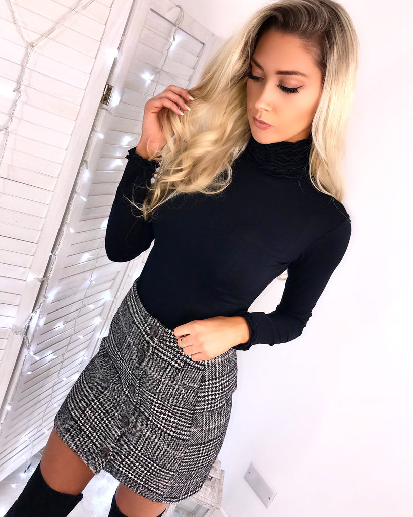 'Abigail' Grey Check-Print Tweed Button Skirt