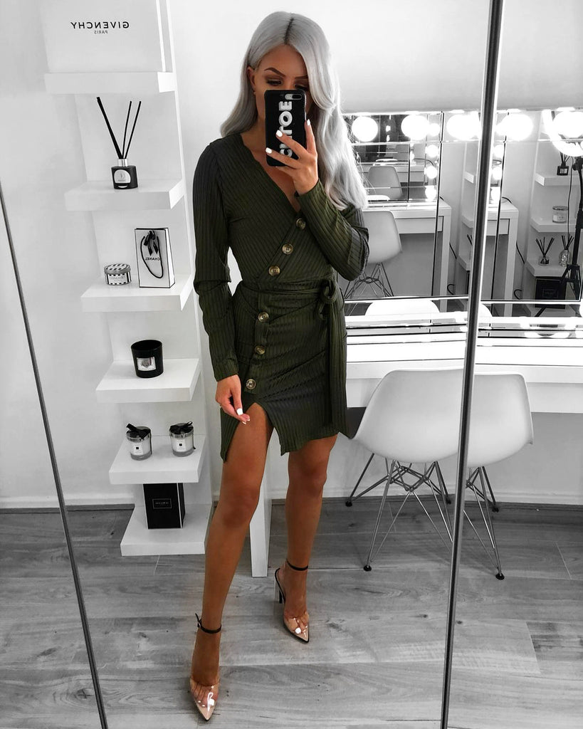 'Sadie' Khaki Ribbed Belted Wrap Dress