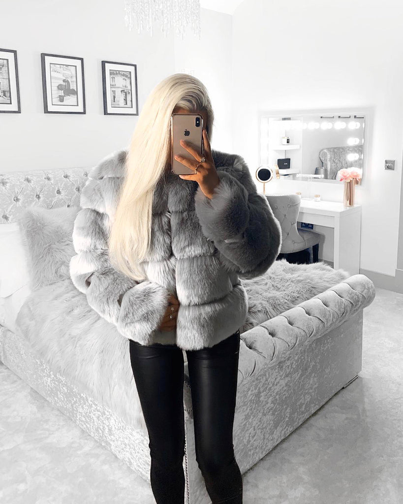 'Rosie' Grey Faux-Fur Coat