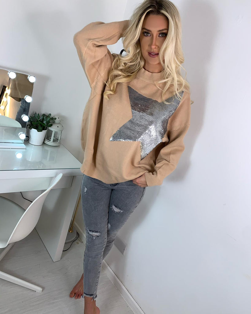 'Alexa' Camel Knitted Jumper with Star Detail