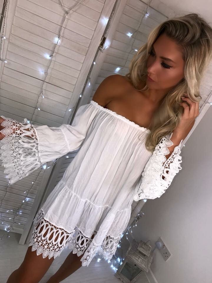 'Isabella' White Off-Shoulder Dress with Crochet Detail