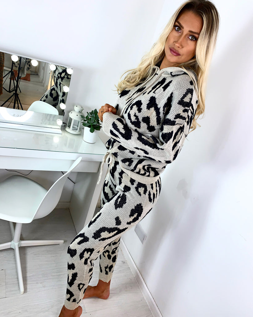'Faith' Stone Animal Print Knitted Loungesuit