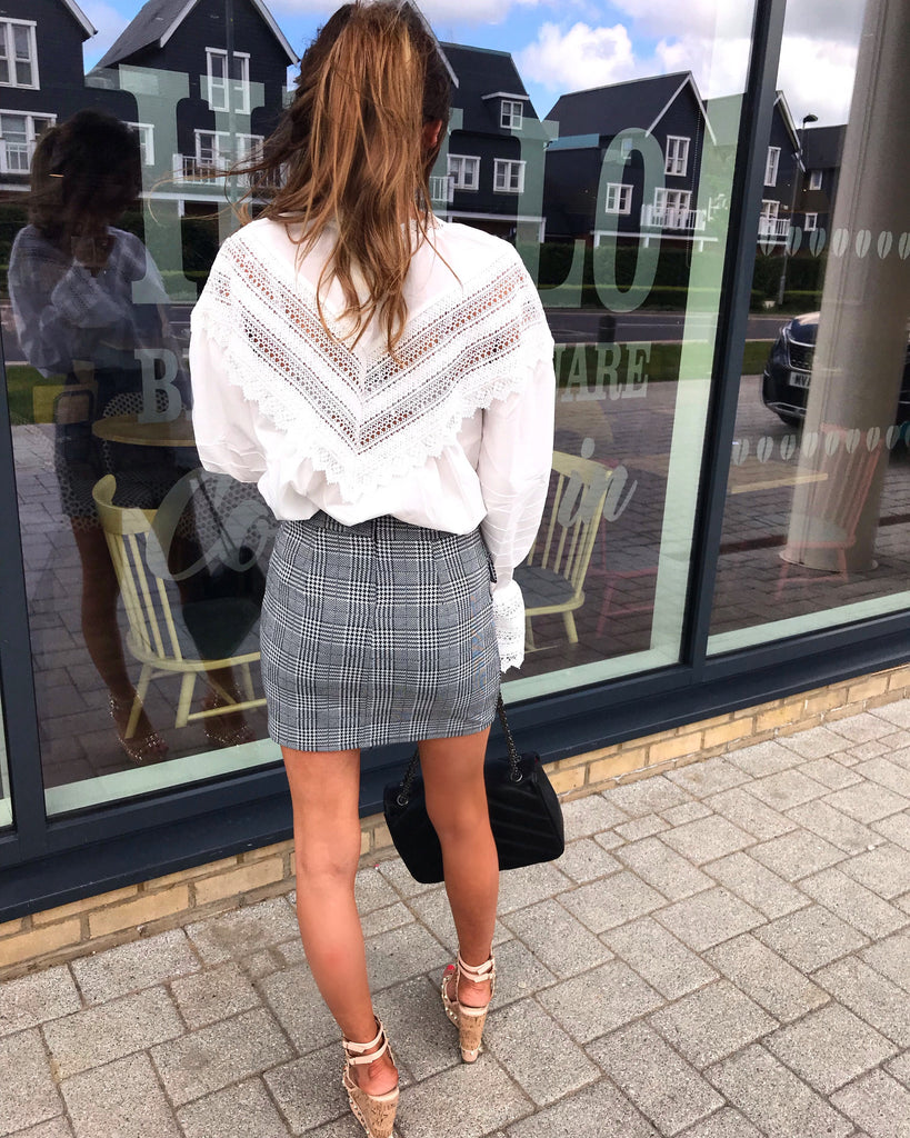 'Rhea' Grey Check Print Button Detail Skirt