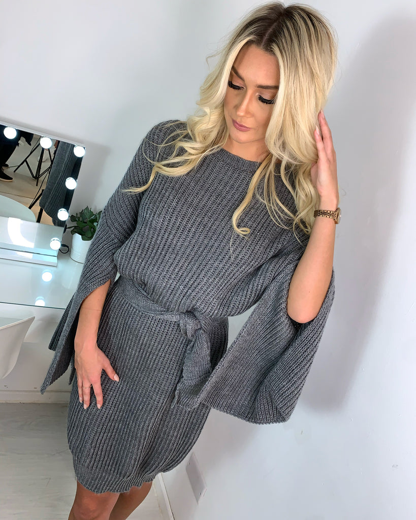 'Joanie' Grey Knitted Jumper Dress