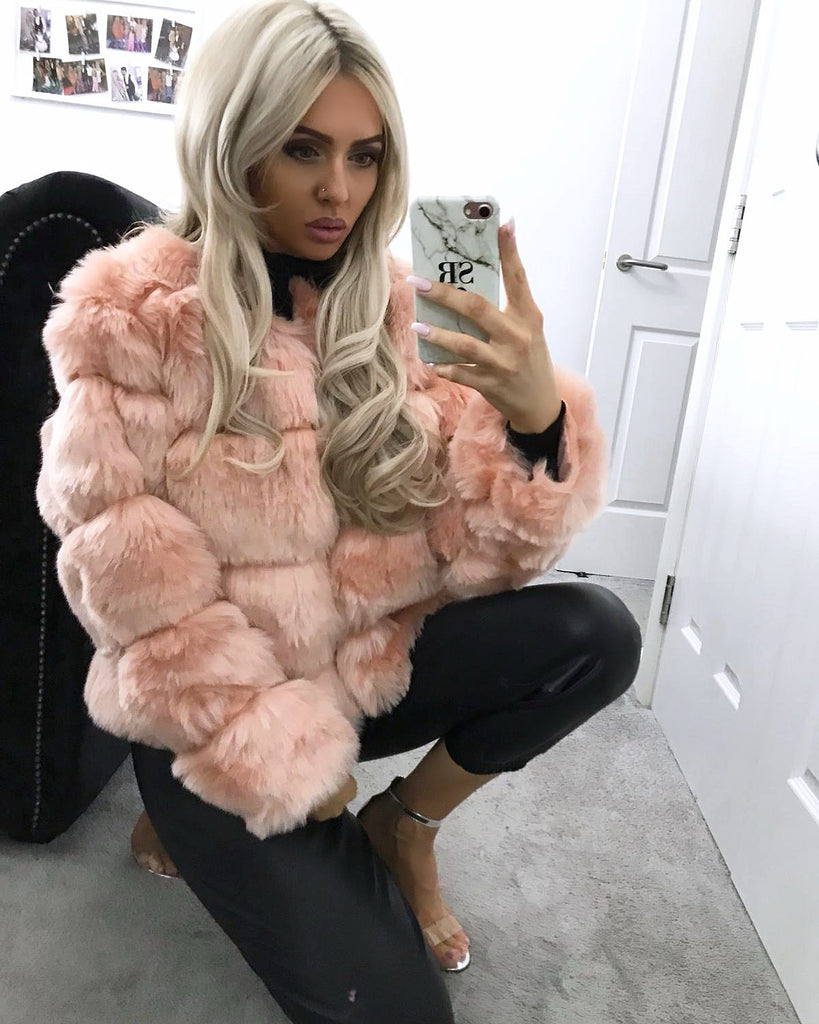 'Rosie' Pink Faux Fur Coat