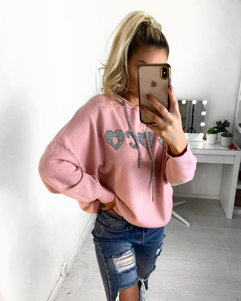 Pink Knitted Slogan Hooded Jumper