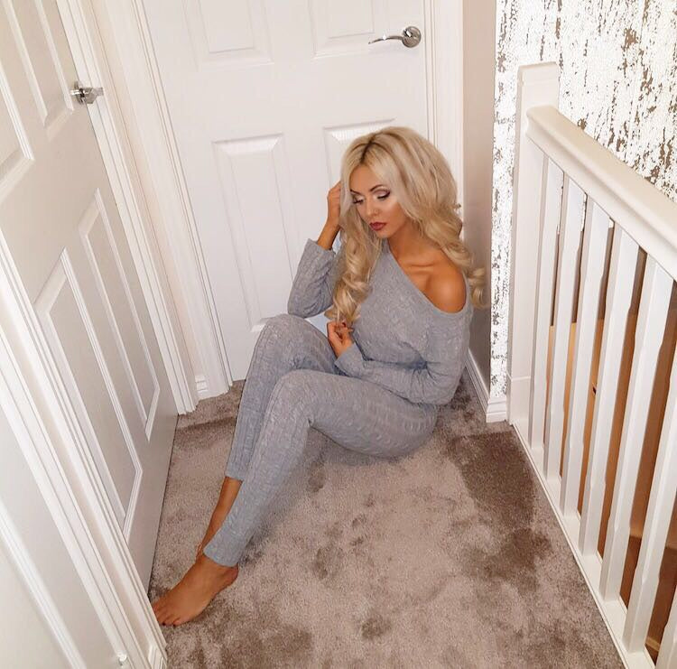 'Demi' Grey Knitted Top & Leggings Set