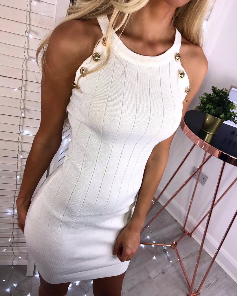 'Tahlia' White Ribbed Button Detail Dress
