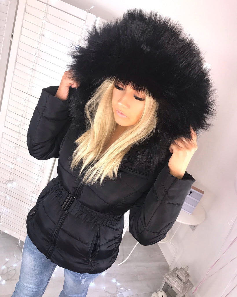 'Freya' Black Puffer Coat with Black Faux-Fur Hood & Belt