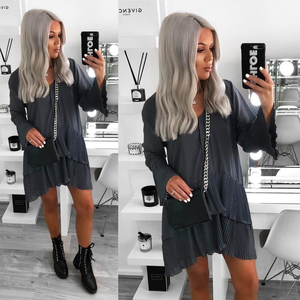 'Brooklyn' Grey Pleated Layered Shirt- Dress