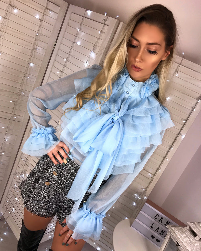 'Tula' Powder-Blue Chiffon Ruffle Blouse