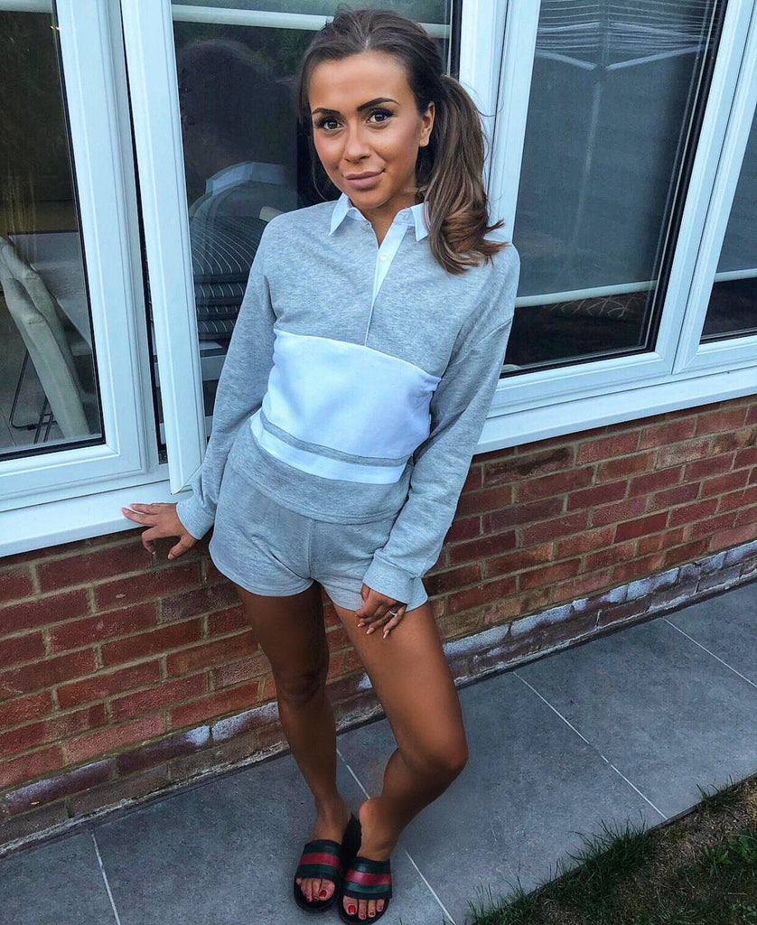 'Sophena' Grey Polo Jumper & Shorts Co-Ord Set