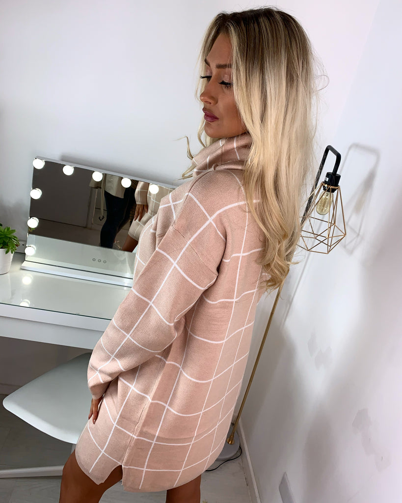 'Celine' Nude Check Print Roll-Neck Jumper Dress