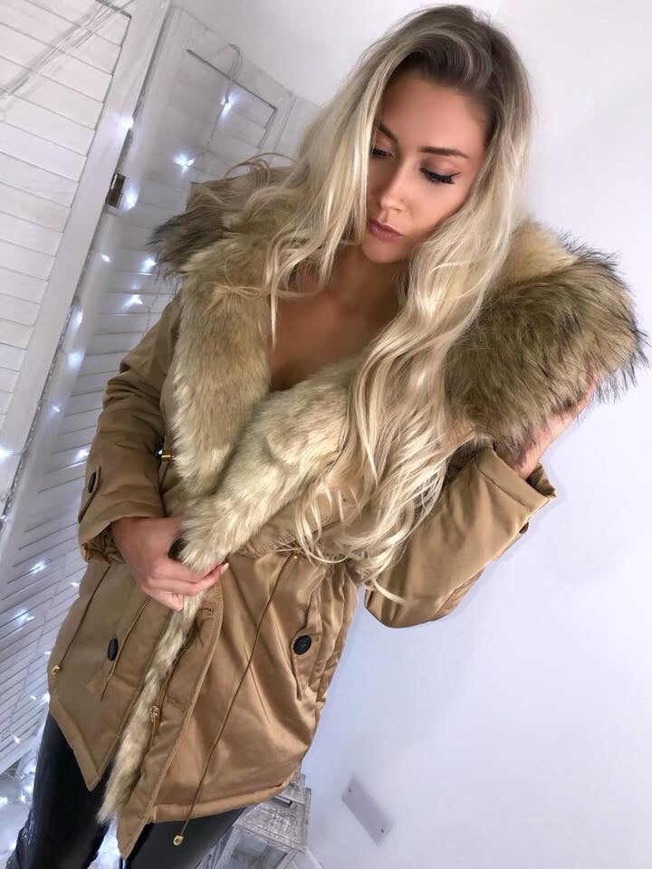 'Marissa' Gold LUXE Parka with Faux-Fur Hood & Lining