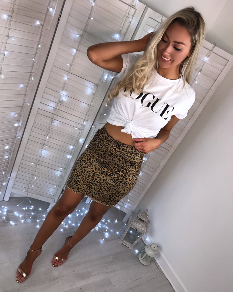 'Robyn' Animal Print-Denim Skirt