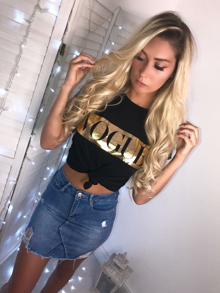 'VOGUE' Black & Gold Slogan Tee