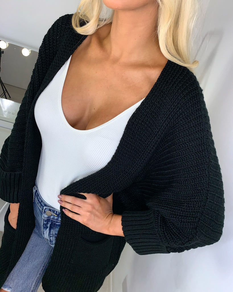 'Martina' Black Knitted Cardigan