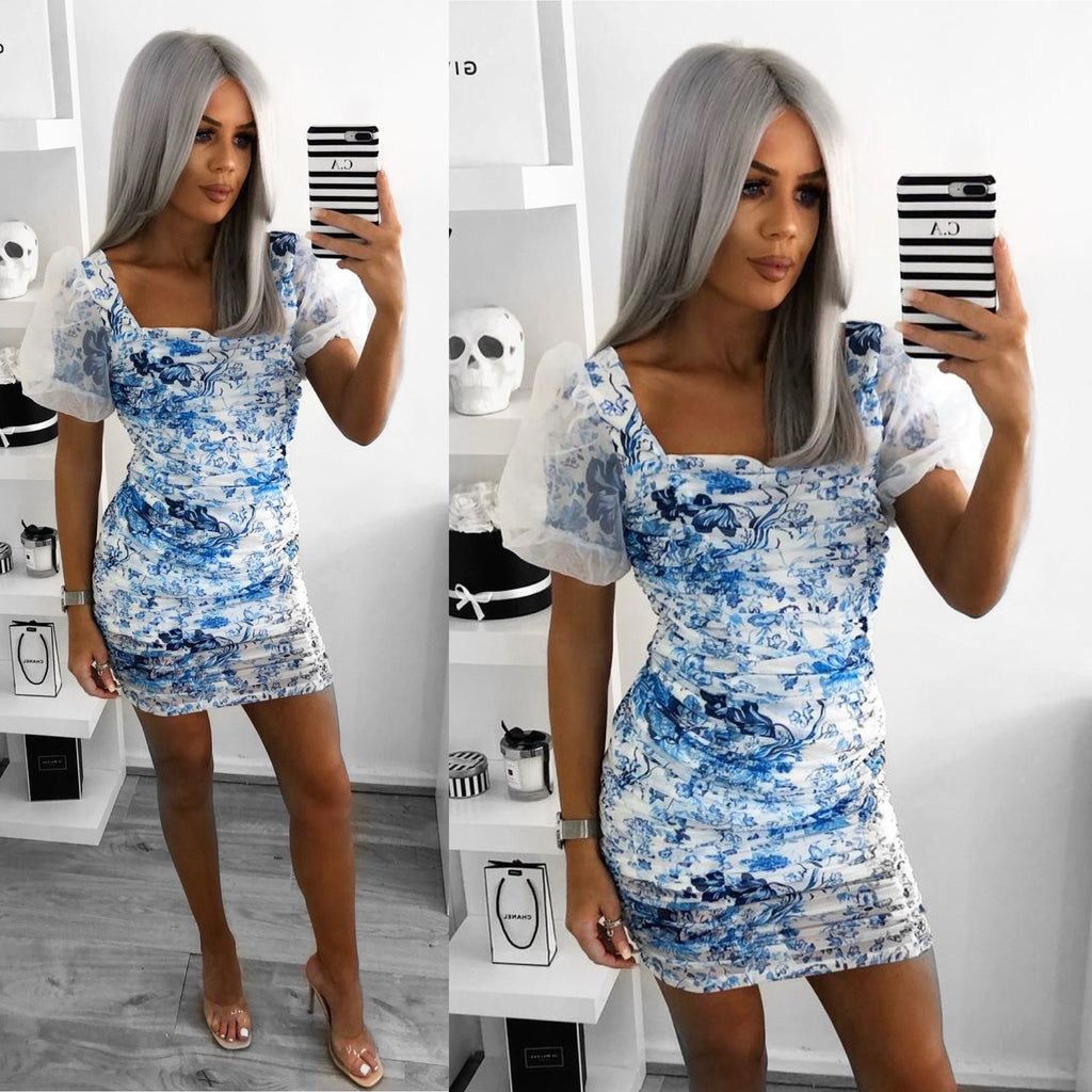 'Tilly' Blue & White Floral Ruched Dress