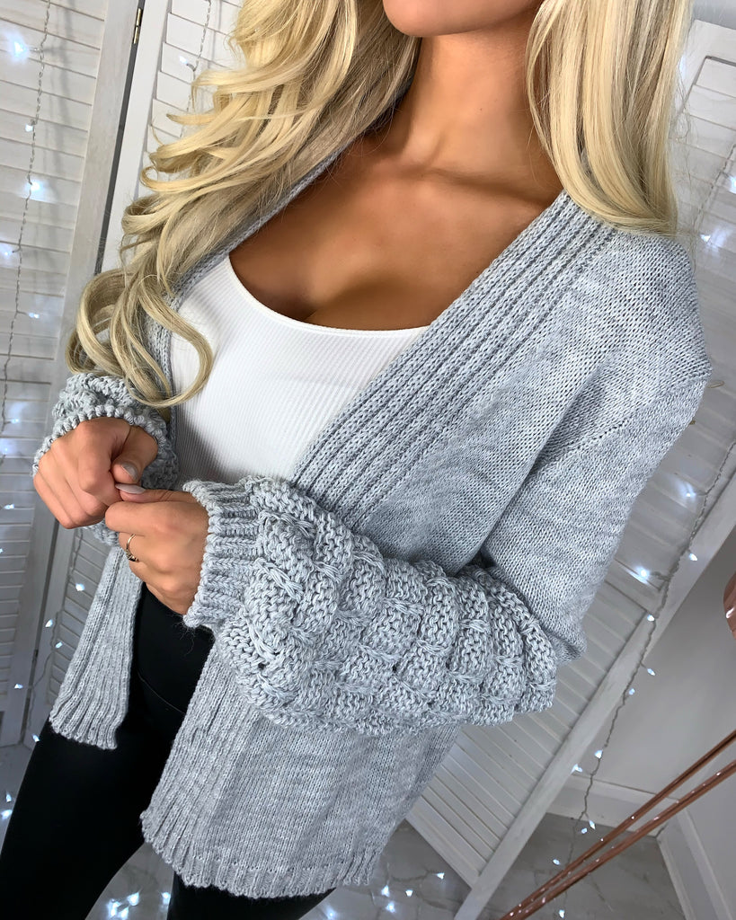 'Lea' Grey Chunky Knit Bubble-Sleeve Cardigan